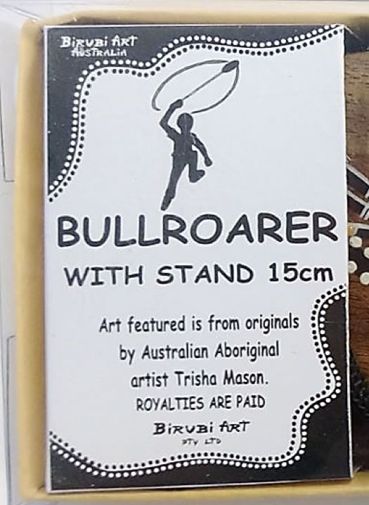 Fake bullroarer with stand advert