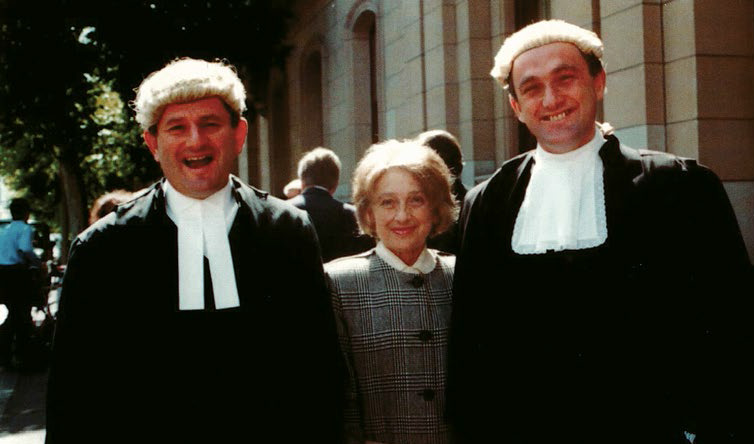 George and Colin Golvan and their mother Helen at the ceremony for George taking silk in 1991